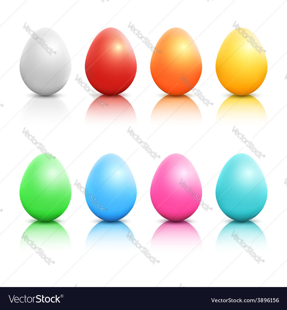 Colorful realistic easter eggs set vector | Price: 1 Credit (USD $1)