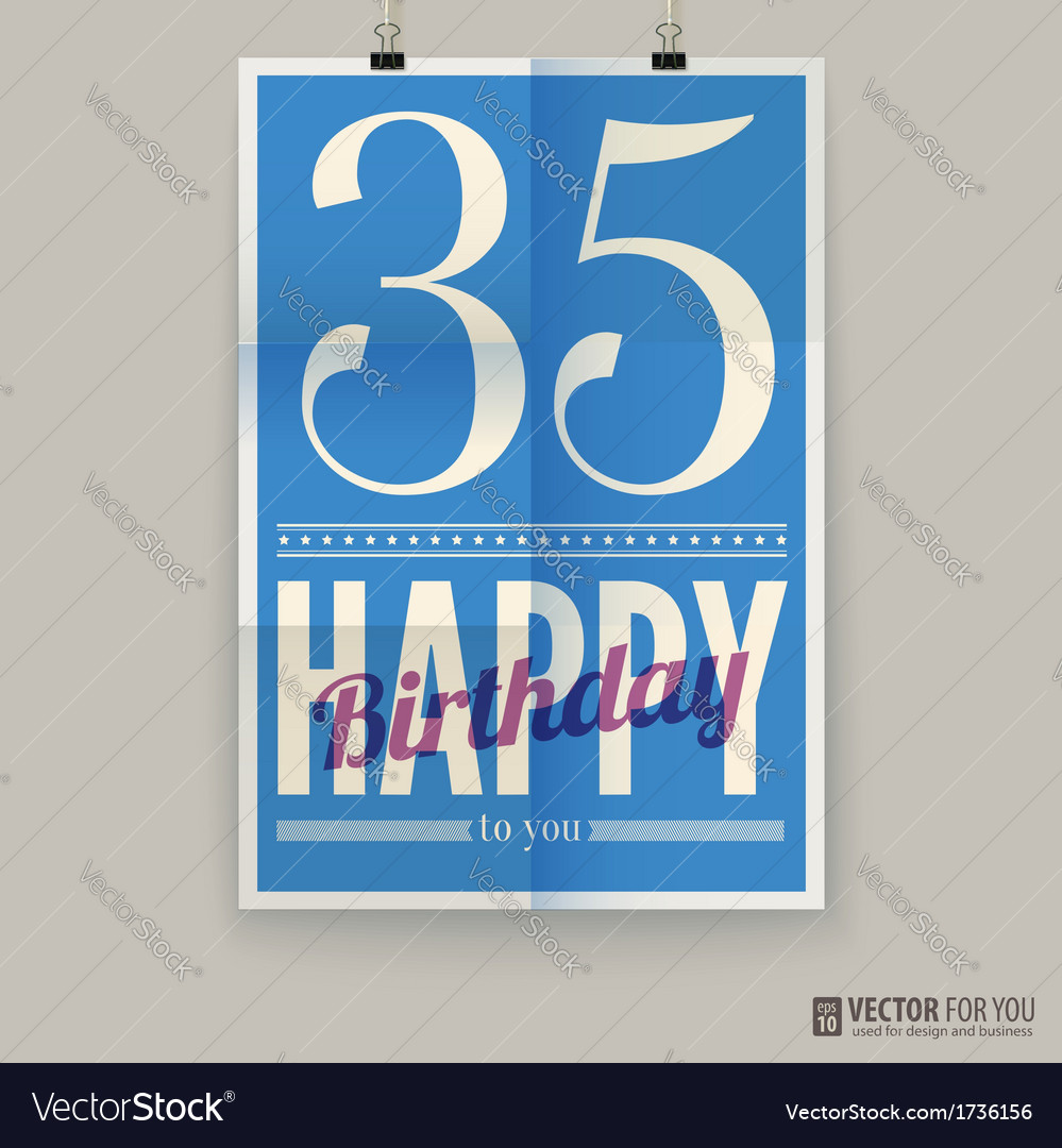 Happy birthday poster card thirty-five years old vector | Price: 1 Credit (USD $1)