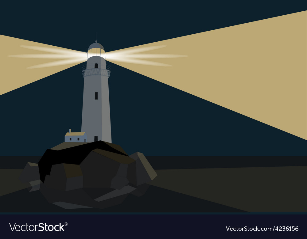 Lighthouse with barn on rocks by the sea night vector | Price: 1 Credit (USD $1)