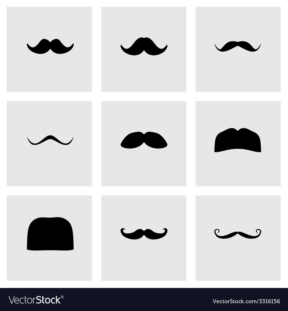 Moustaches icon set vector | Price: 1 Credit (USD $1)