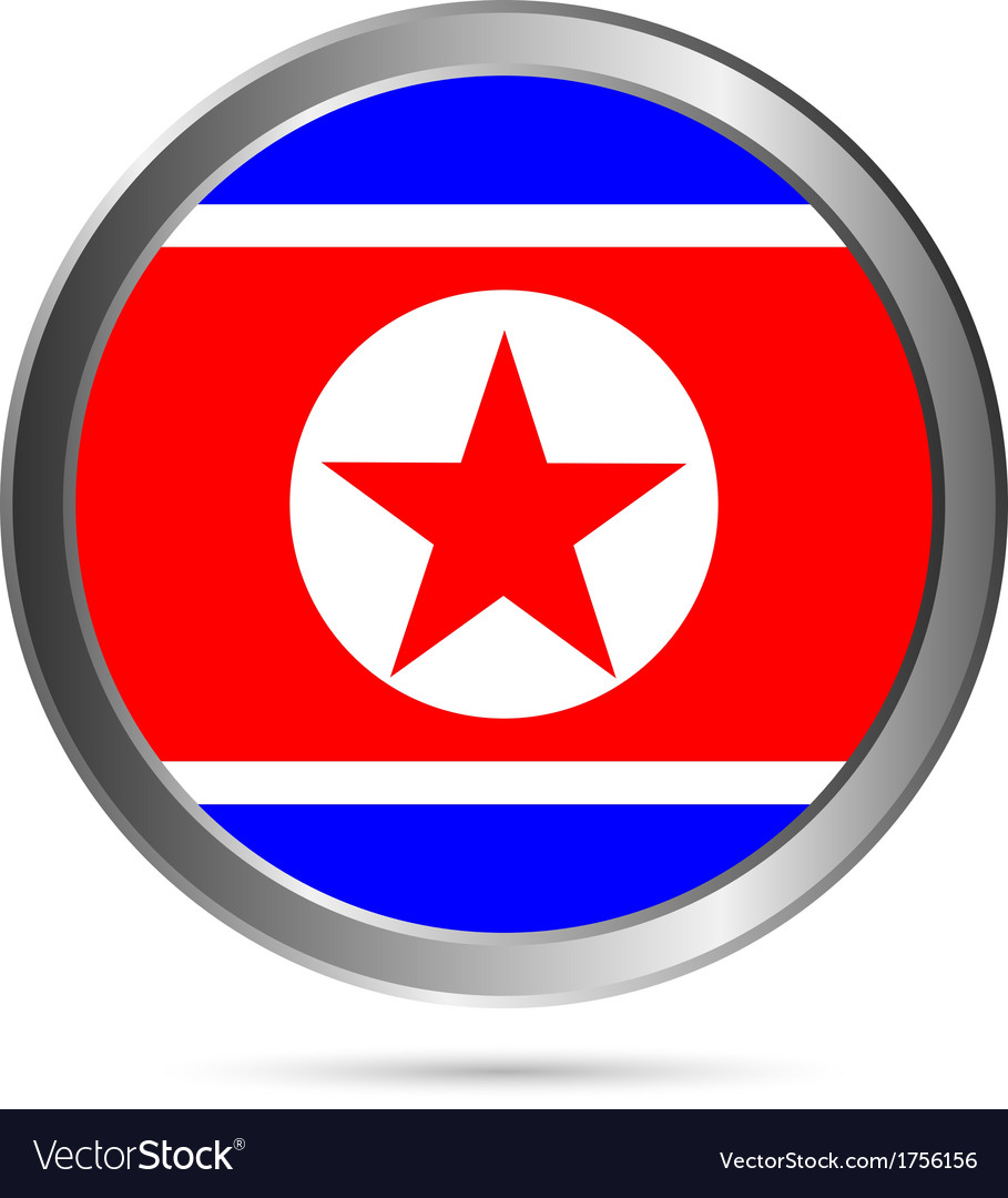 North korea flag button vector | Price: 1 Credit (USD $1)