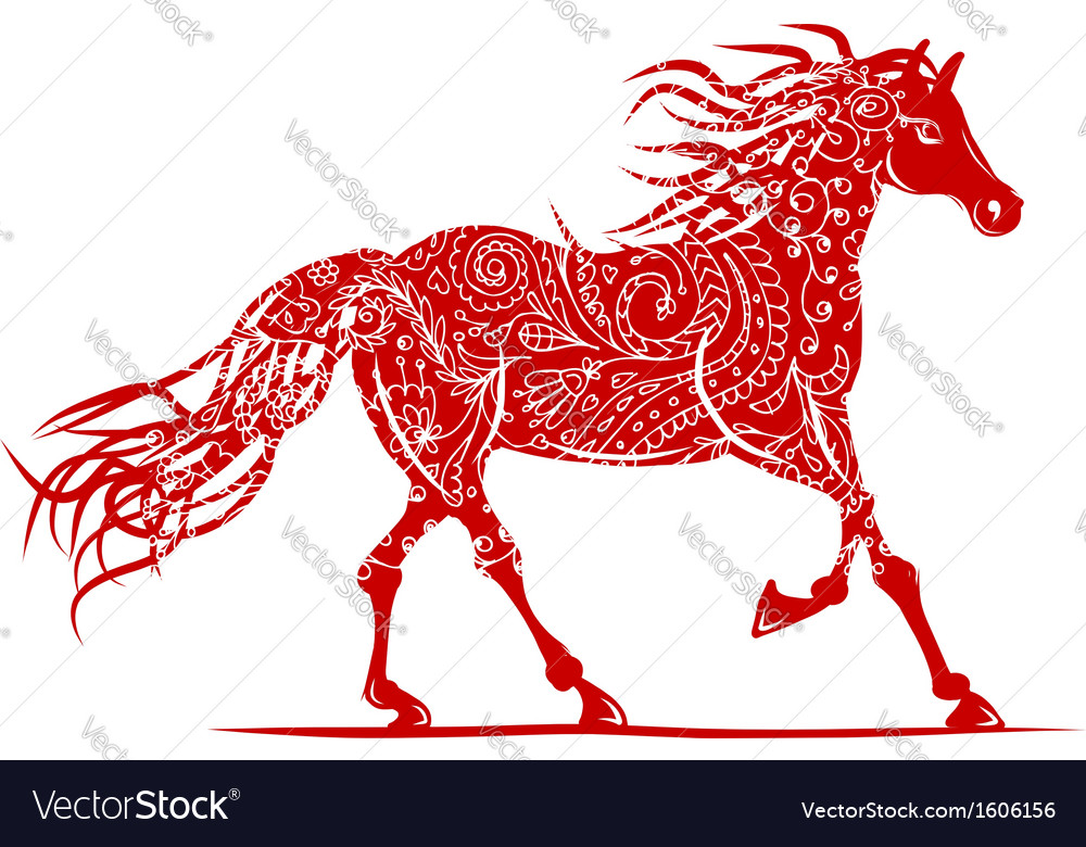 Red horse with floral ornament for your design vector | Price: 1 Credit (USD $1)