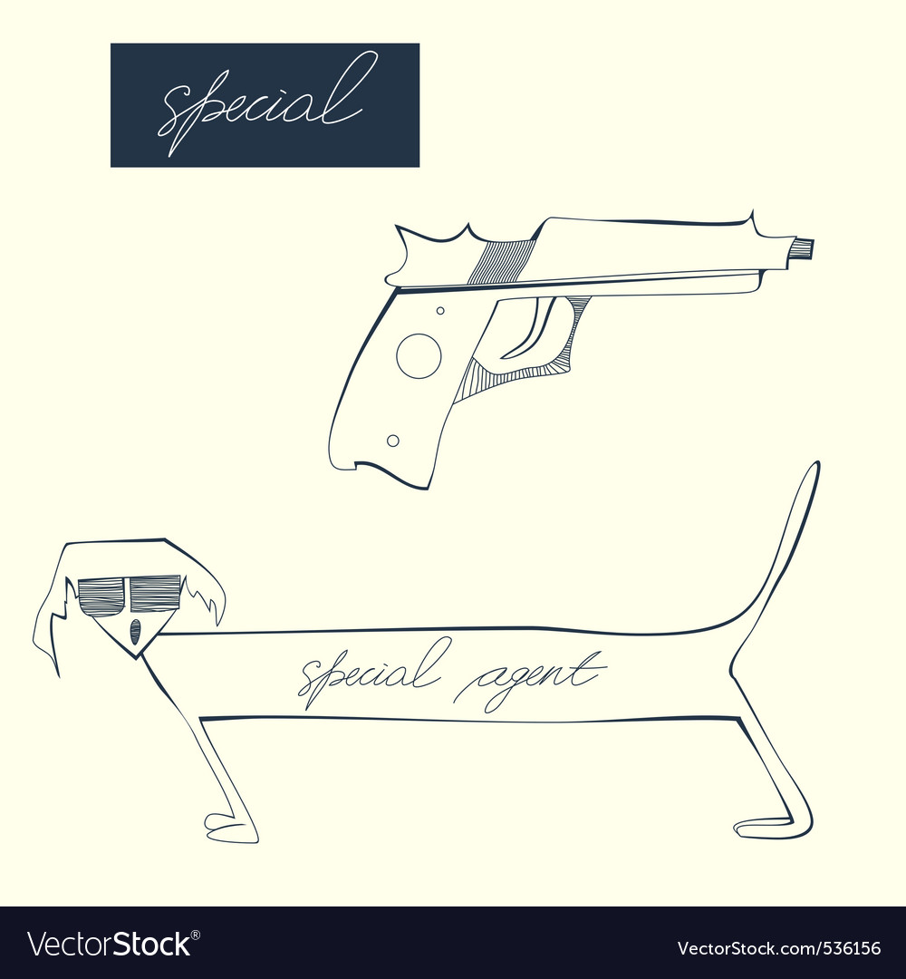 Sketch with dog and pistol vector | Price: 1 Credit (USD $1)