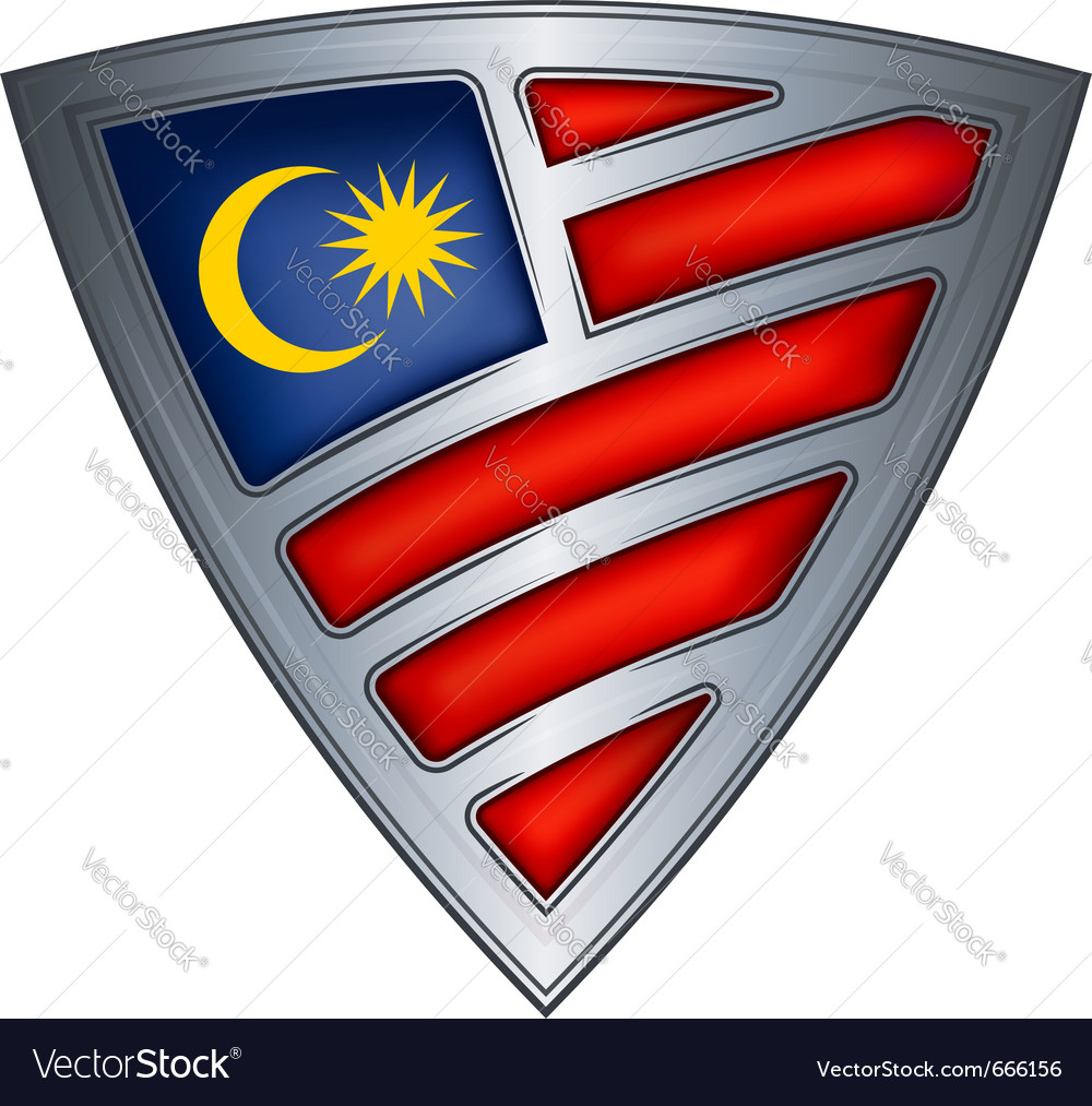 Steel shield with flag malaysia vector | Price: 1 Credit (USD $1)