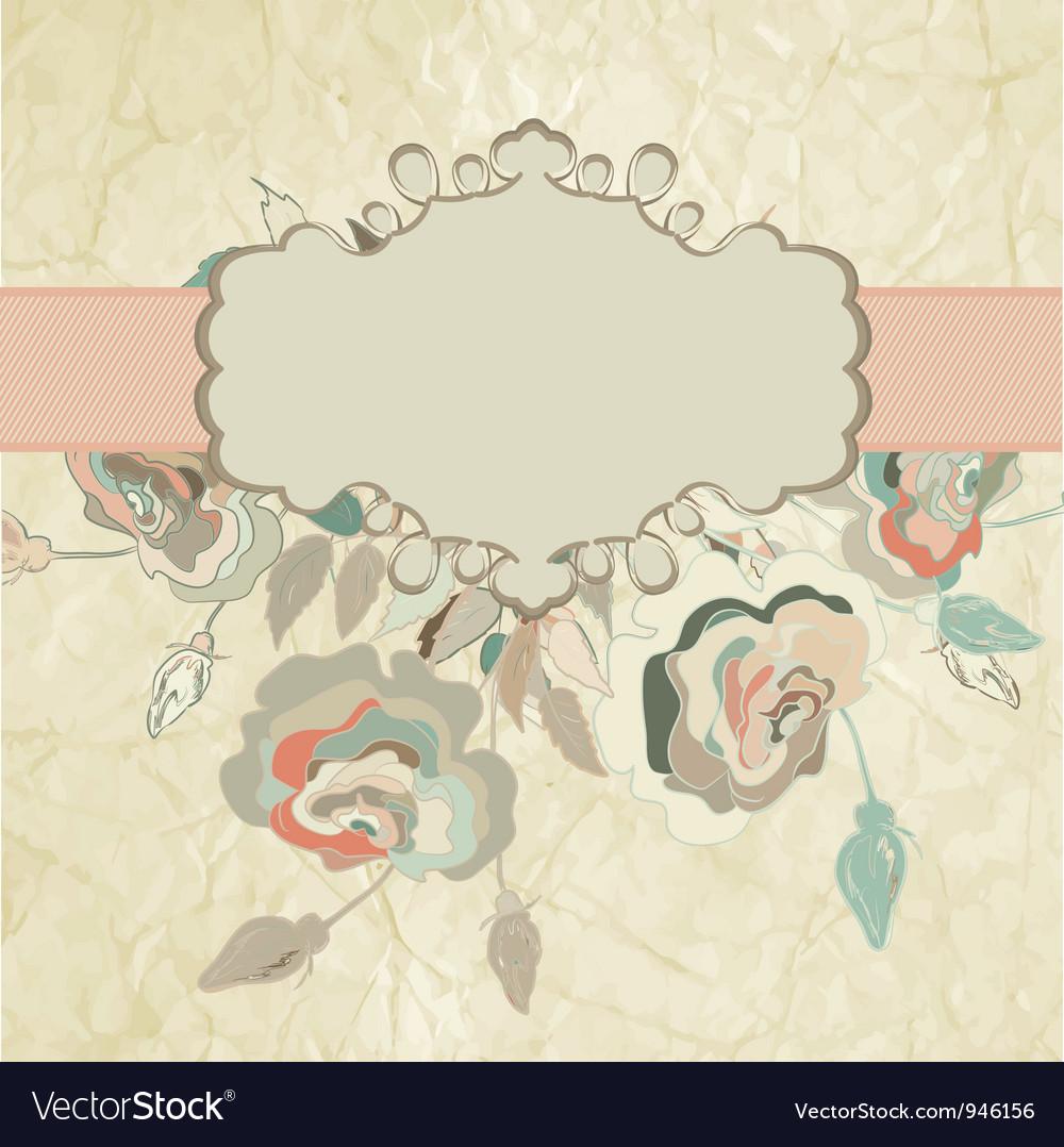 Vintage rose floral card vector | Price: 1 Credit (USD $1)