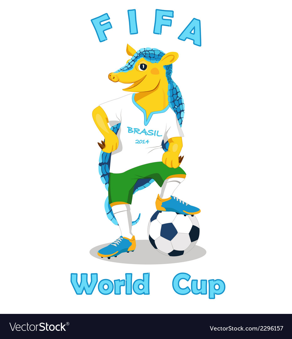 Armadillo fifa world cup mascot isolated on white vector | Price: 1 Credit (USD $1)