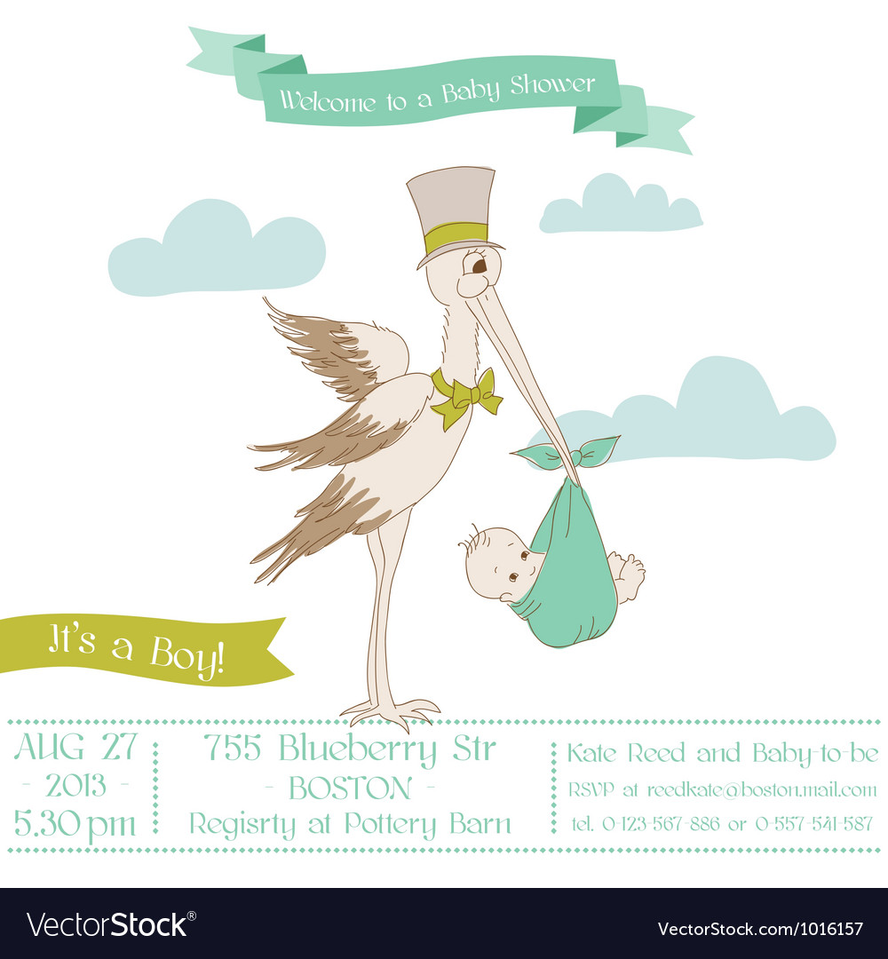 Baby shower card with stork vector | Price: 1 Credit (USD $1)