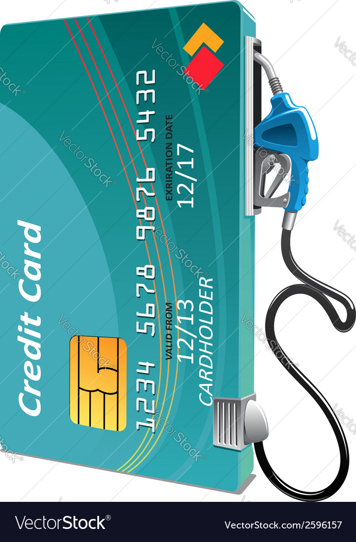 Credit card with petrol or gasoline pump vector | Price: 1 Credit (USD $1)