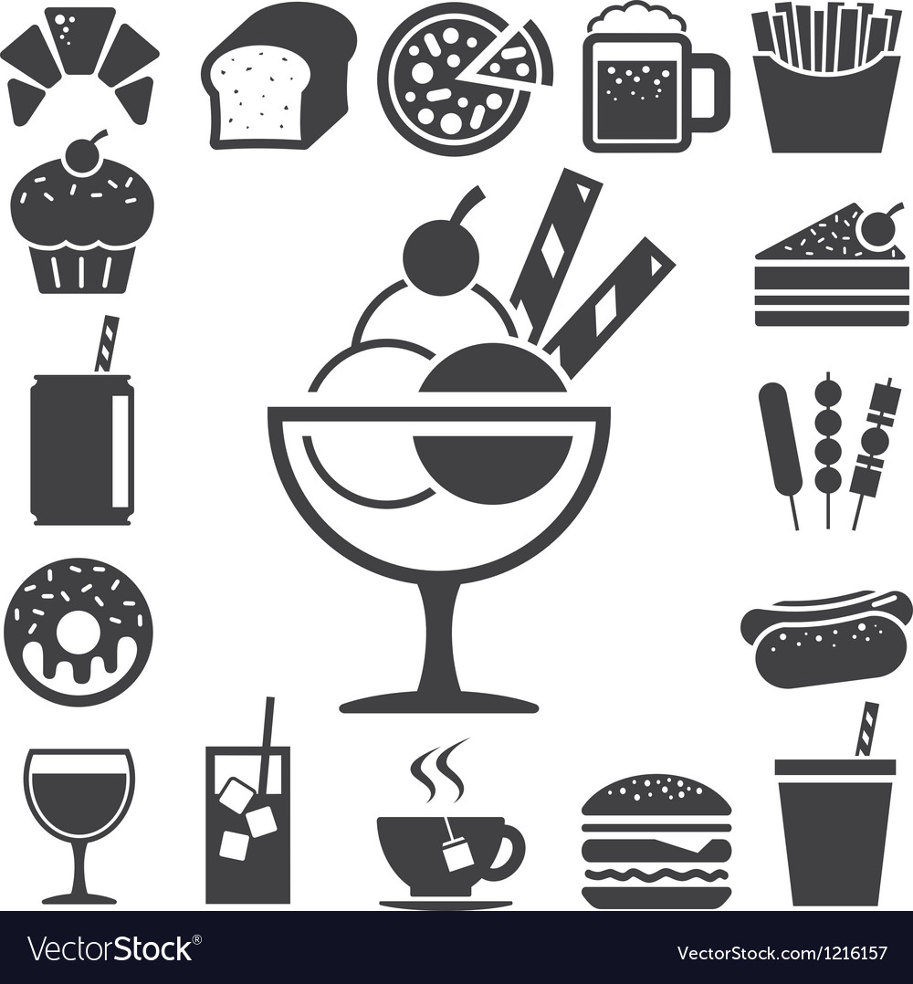 Fast food and dessert icon set eps10 vector | Price: 1 Credit (USD $1)