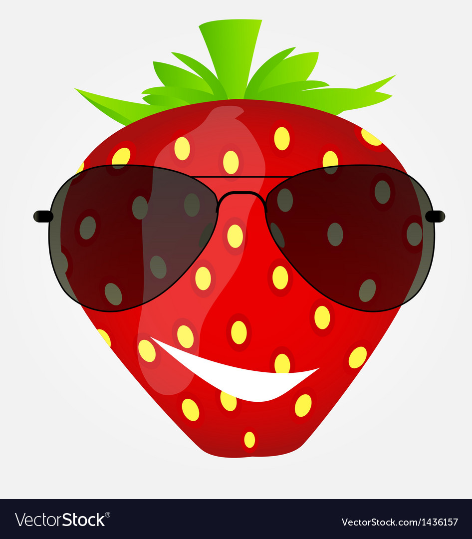Funnt sweet tasty strawberry in sunglasses vector | Price: 1 Credit (USD $1)