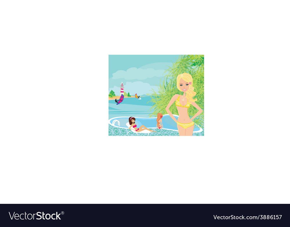 Girls and tropical pool vector | Price: 1 Credit (USD $1)