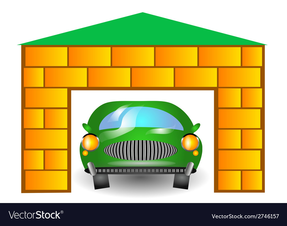 Green car in garage vector | Price: 1 Credit (USD $1)