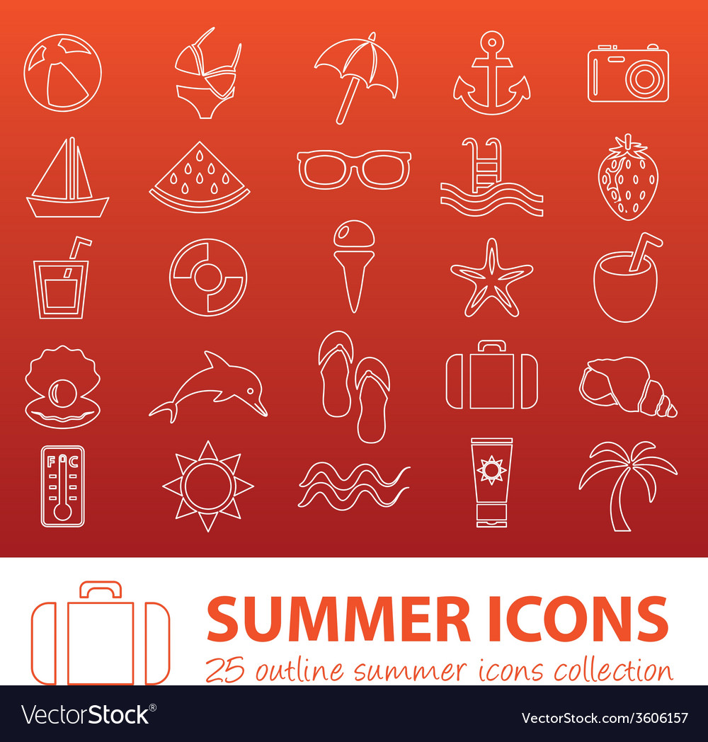 Summer outline icons vector | Price: 1 Credit (USD $1)
