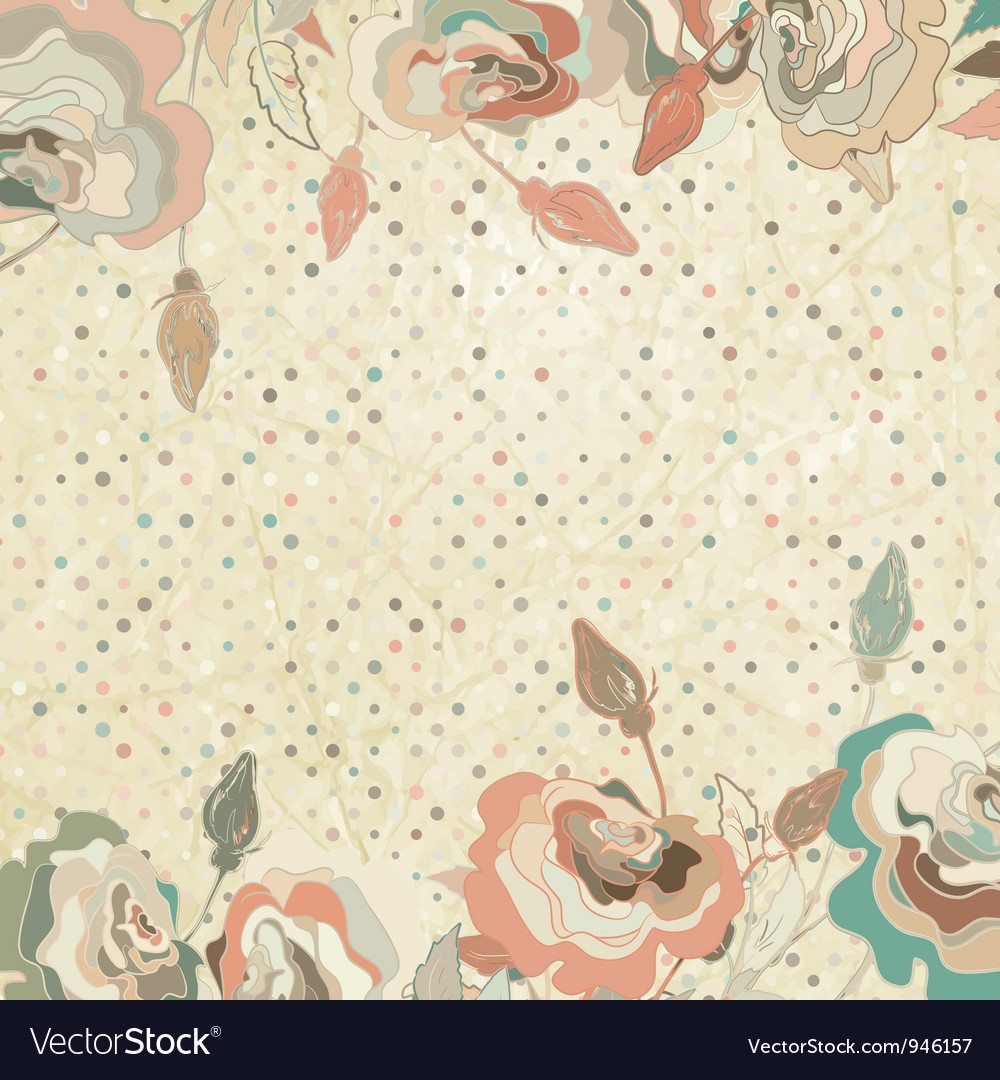 Vintage roses floral background vector | Price: 1 Credit (USD $1)