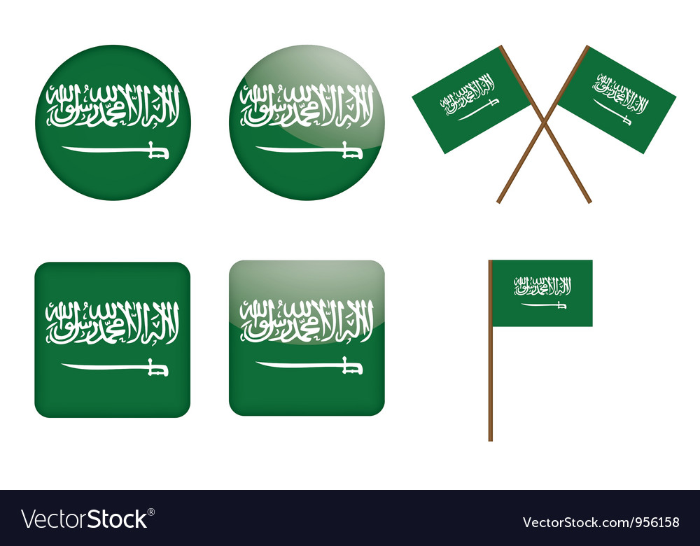 Badges with flag of saudi arabia vector | Price: 1 Credit (USD $1)