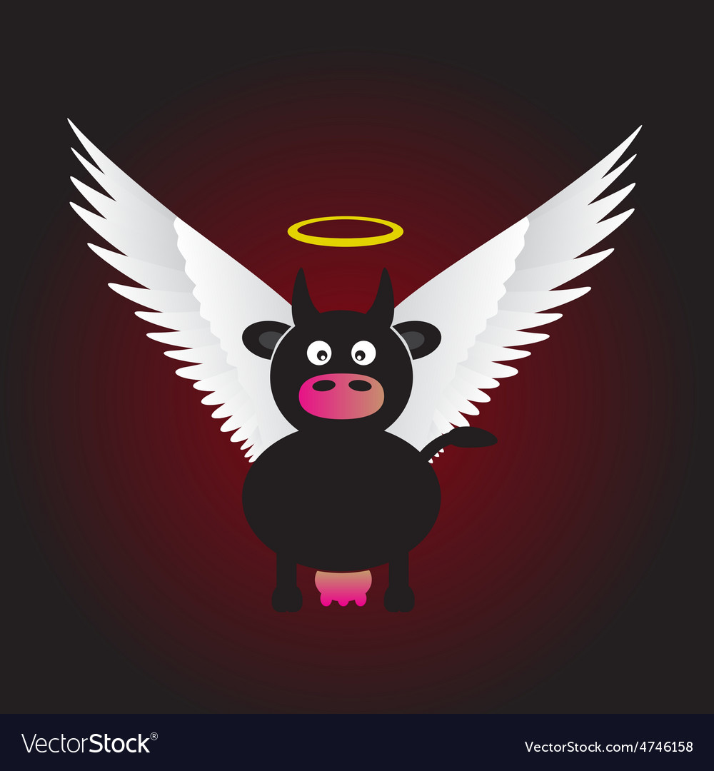 Black saint cow with great white wings eps10 vector | Price: 1 Credit (USD $1)