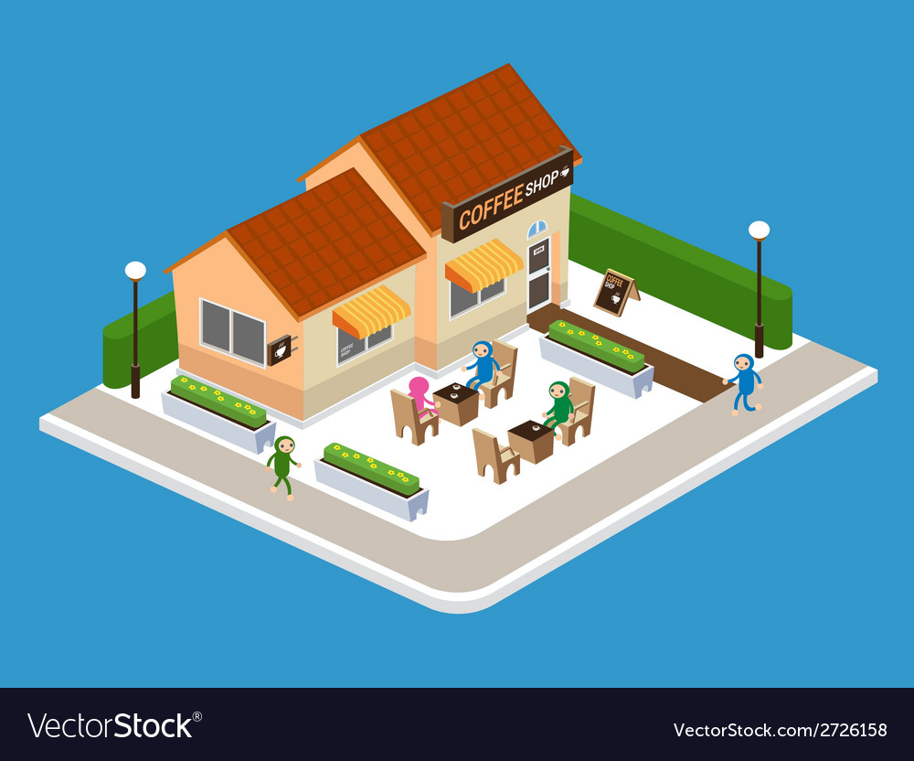 Coffee shop on street vector | Price: 1 Credit (USD $1)