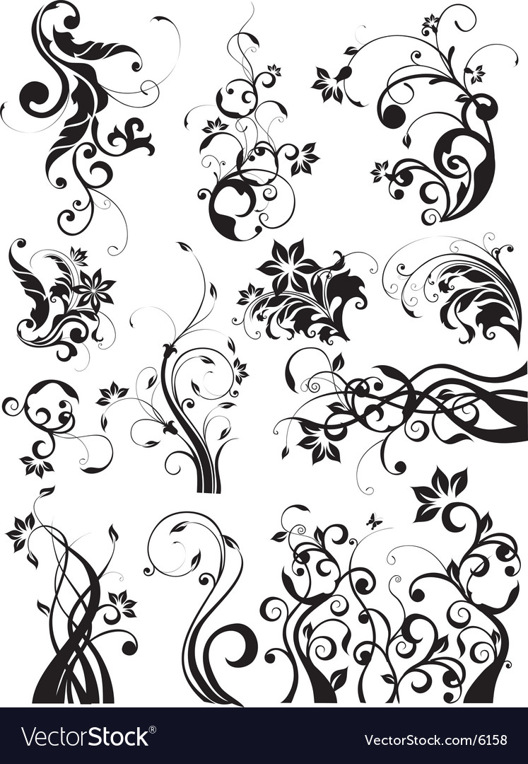 Floral decorative graphic elements vector | Price: 3 Credit (USD $3)