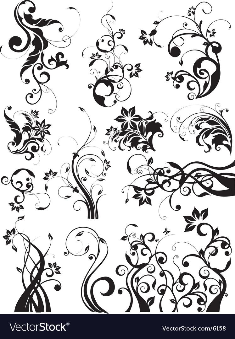 Floral decorative graphic elements vector | Price: 3 Credit (USD $3)