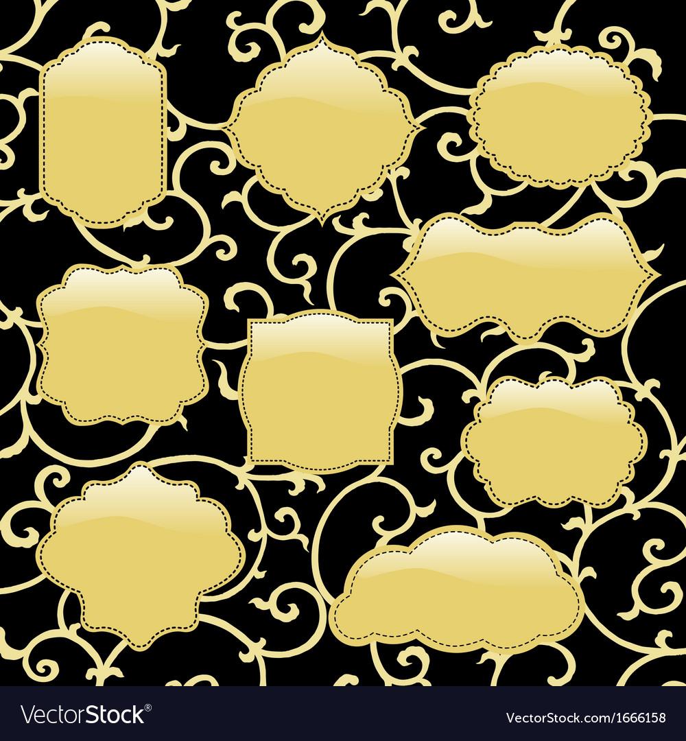 Golden black frames vector