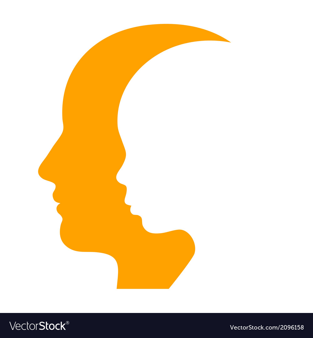 Man and woman face profile silhouette vector | Price: 1 Credit (USD $1)