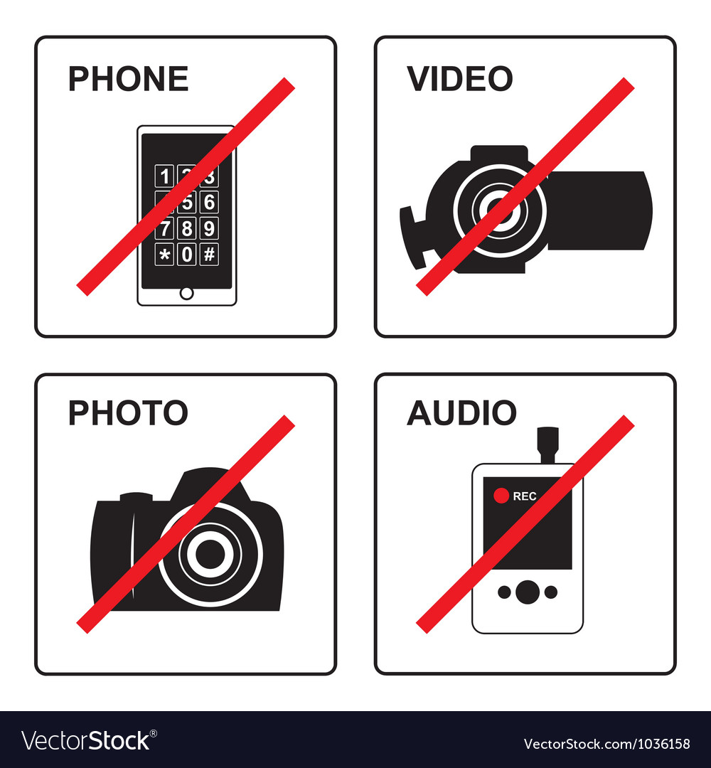 No recording signs vector | Price: 1 Credit (USD $1)