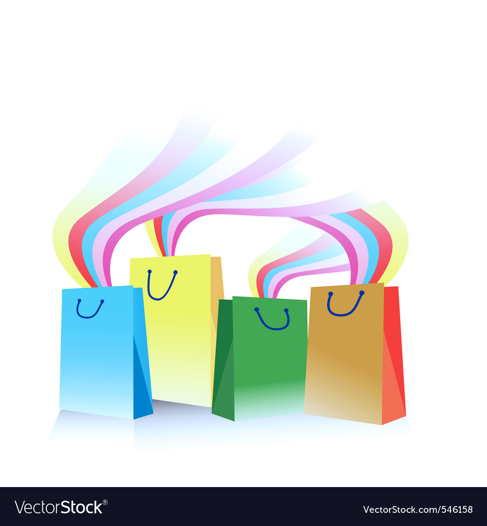 Illustration of shopping bags with rainbow emergin vector | Price: 1 Credit (USD $1)