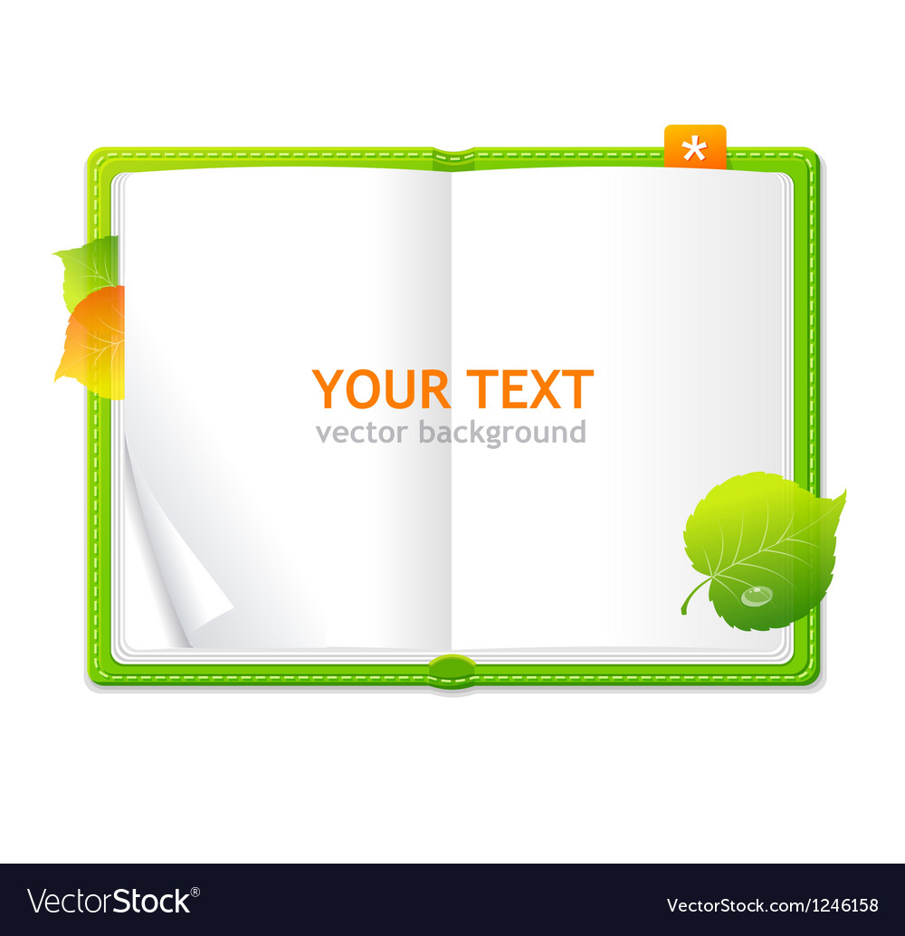 Open personal organizer book green vector | Price: 3 Credit (USD $3)