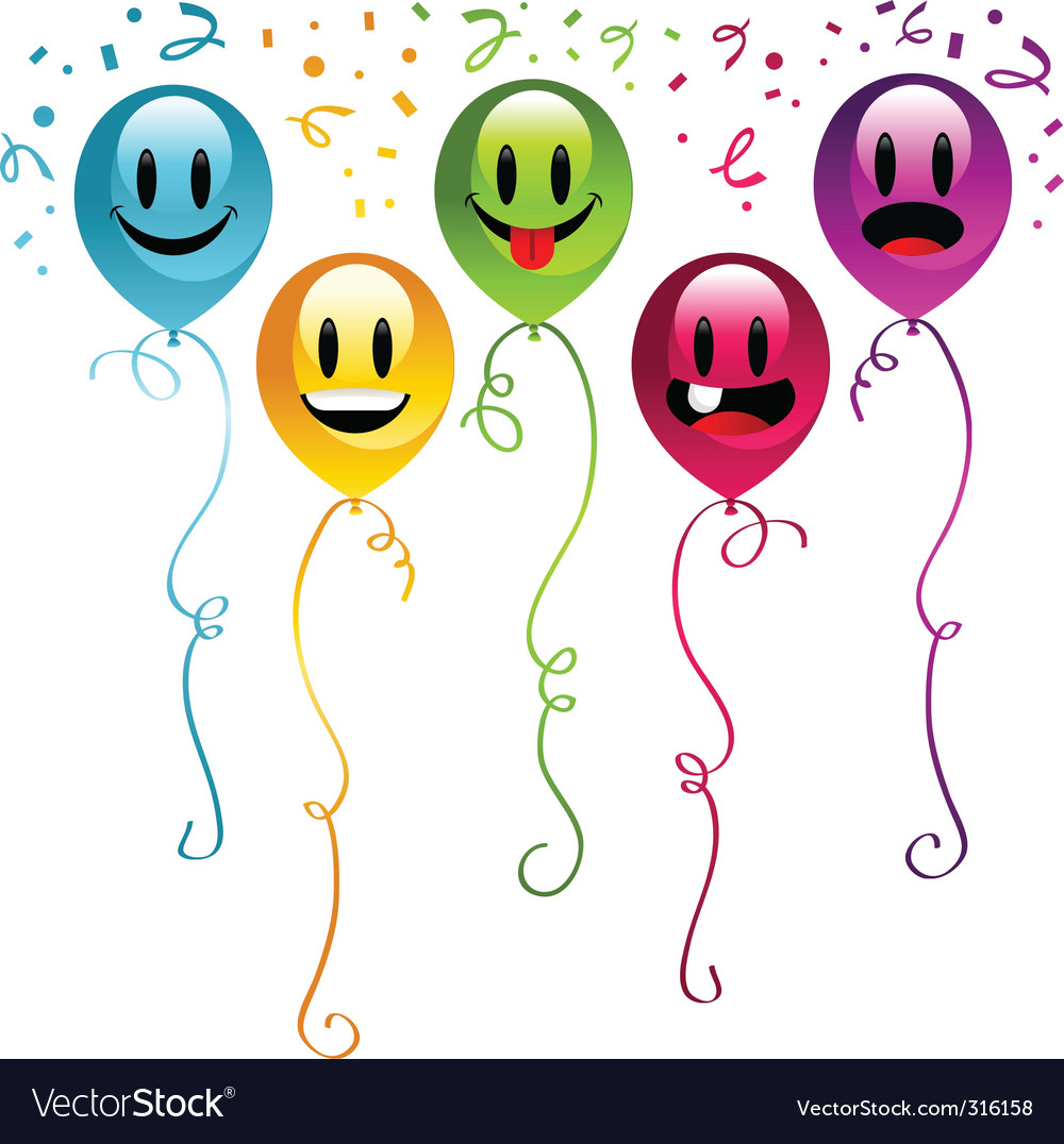 Smiley balloons vector | Price: 1 Credit (USD $1)