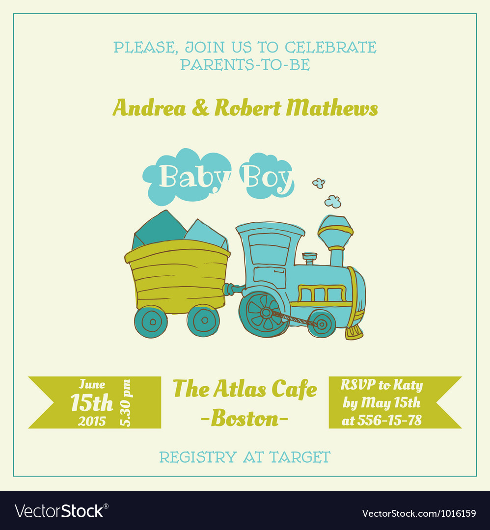 Baby shower card with baby train vector | Price: 1 Credit (USD $1)