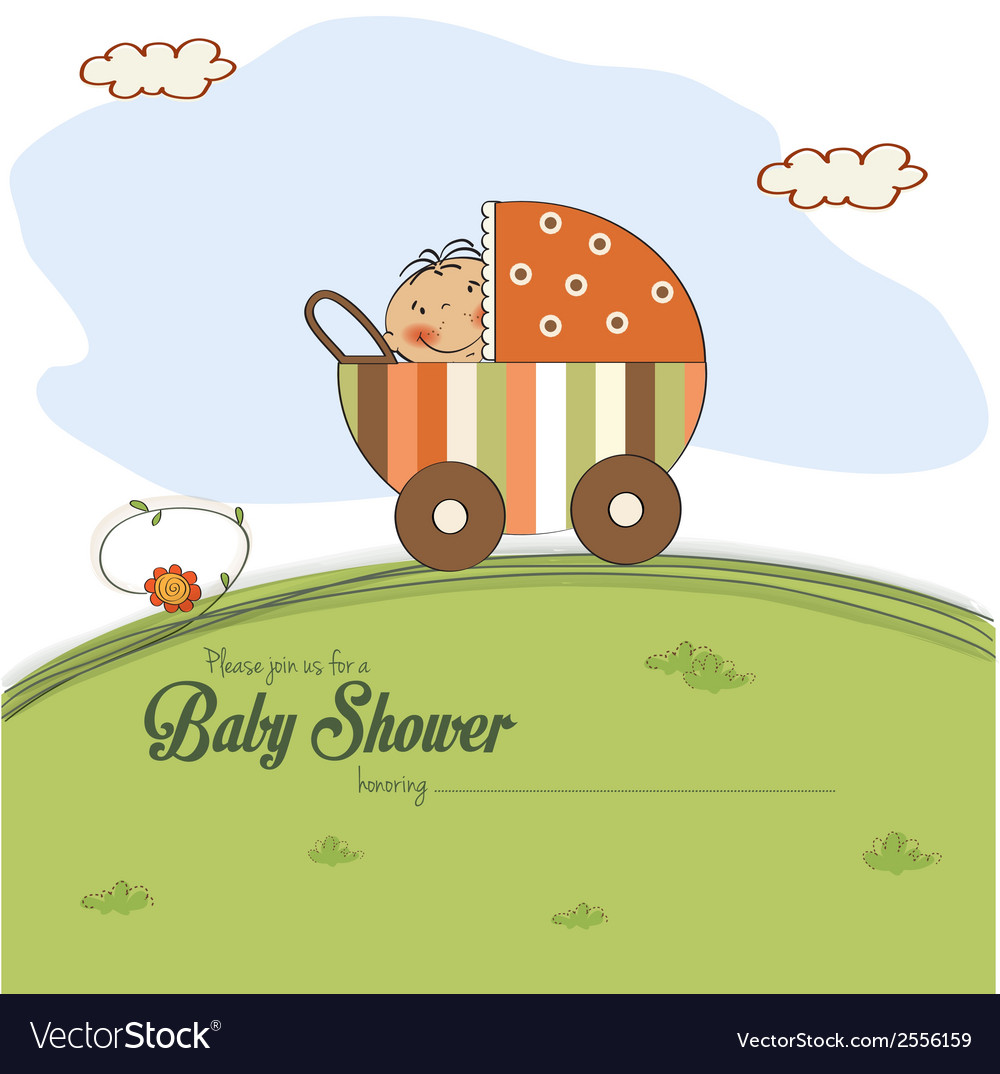 Baby shower card with little boy vector | Price: 1 Credit (USD $1)