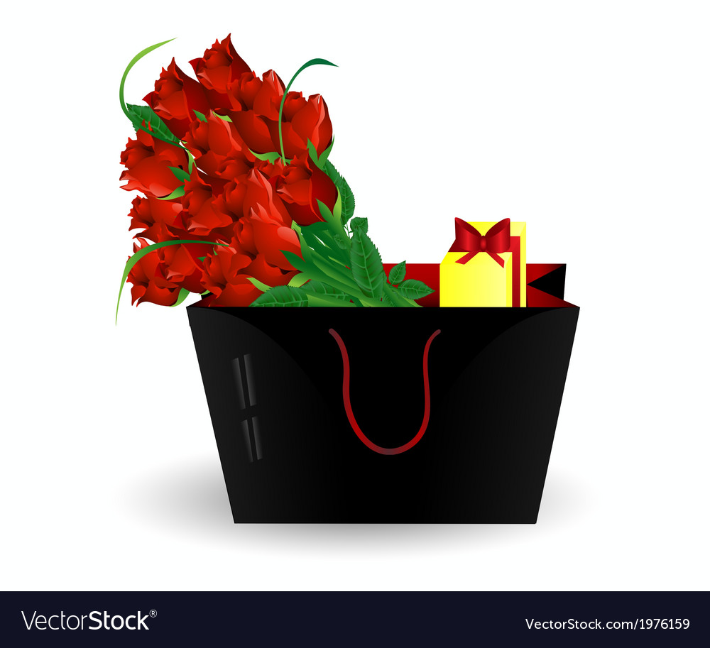 Bag gift and roses vector | Price: 1 Credit (USD $1)