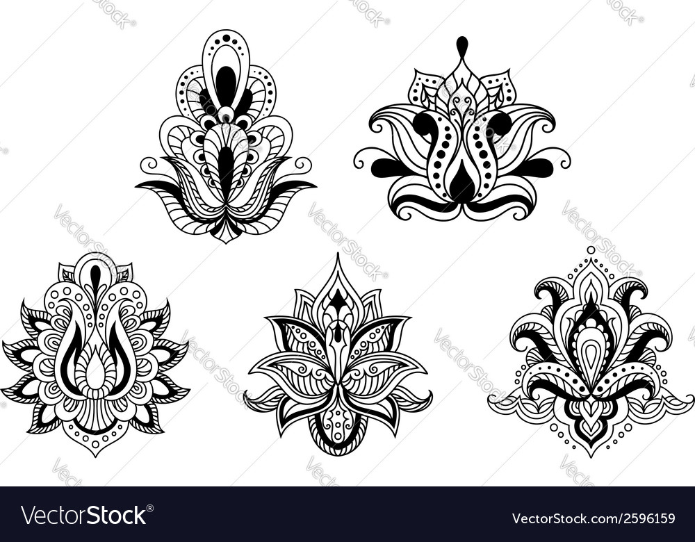 Black and white floral motifs of persian style vector | Price: 1 Credit (USD $1)
