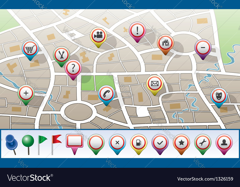 City map with gps icons vector | Price: 1 Credit (USD $1)