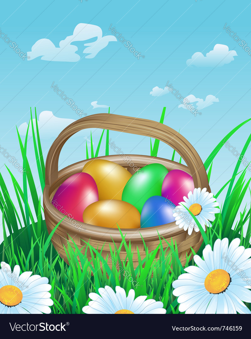 Colorful easter eggs in basket on meadow vector | Price: 1 Credit (USD $1)