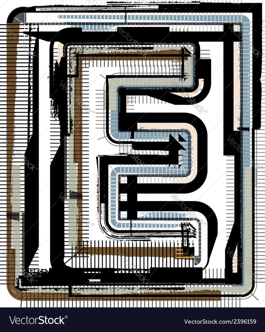 Grunge font letter e vector | Price: 1 Credit (USD $1)