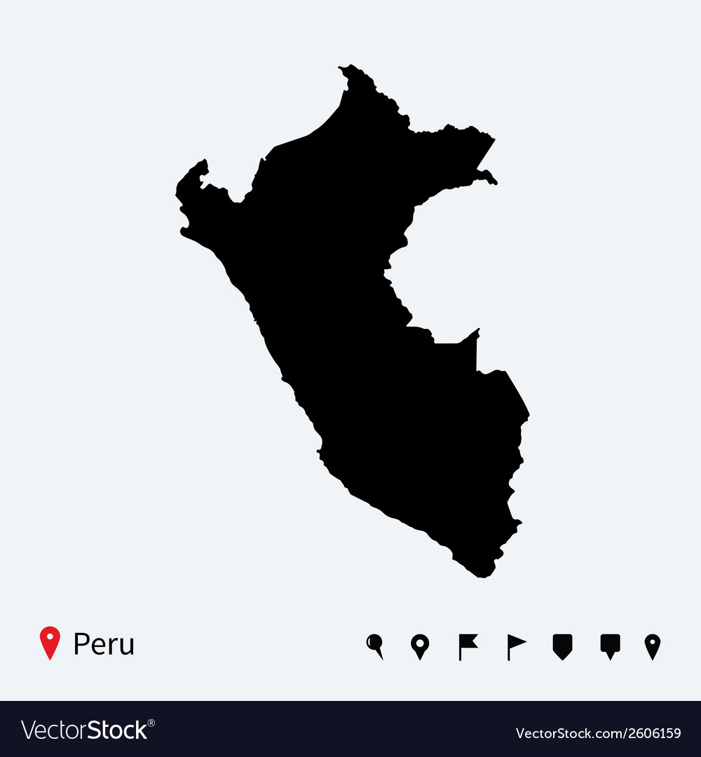 High detailed map of peru with navigation pins vector   Price: 1 Credit (USD $1)