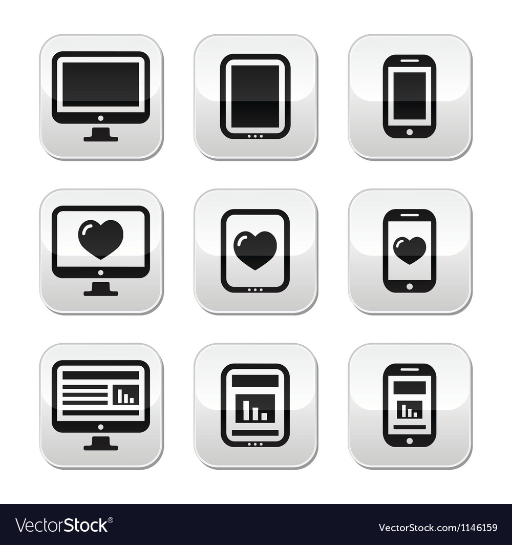 Responsive website design computer screen buttons vector | Price: 1 Credit (USD $1)