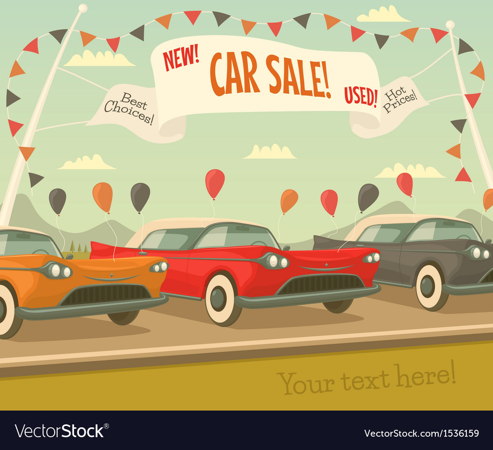 Retro car sale vector | Price: 3 Credit (USD $3)