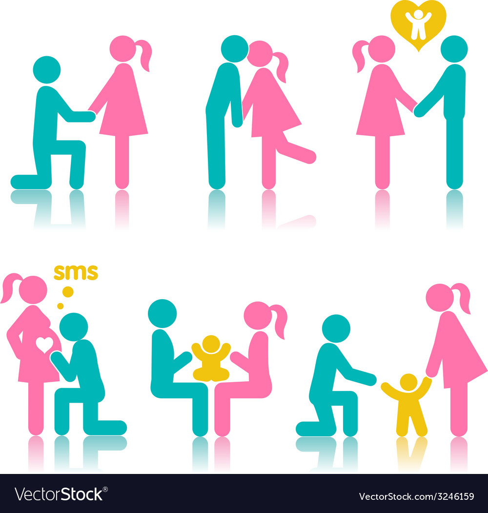 Set of icons stages of creating a family vector | Price: 1 Credit (USD $1)