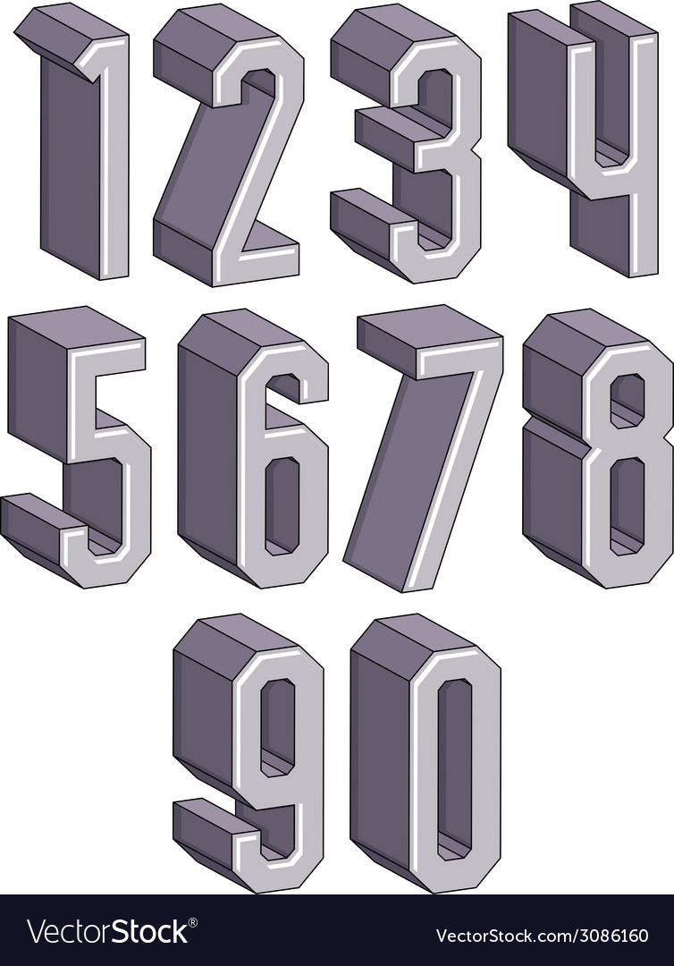 3d geometric numbers set vector   Price: 1 Credit (USD $1)