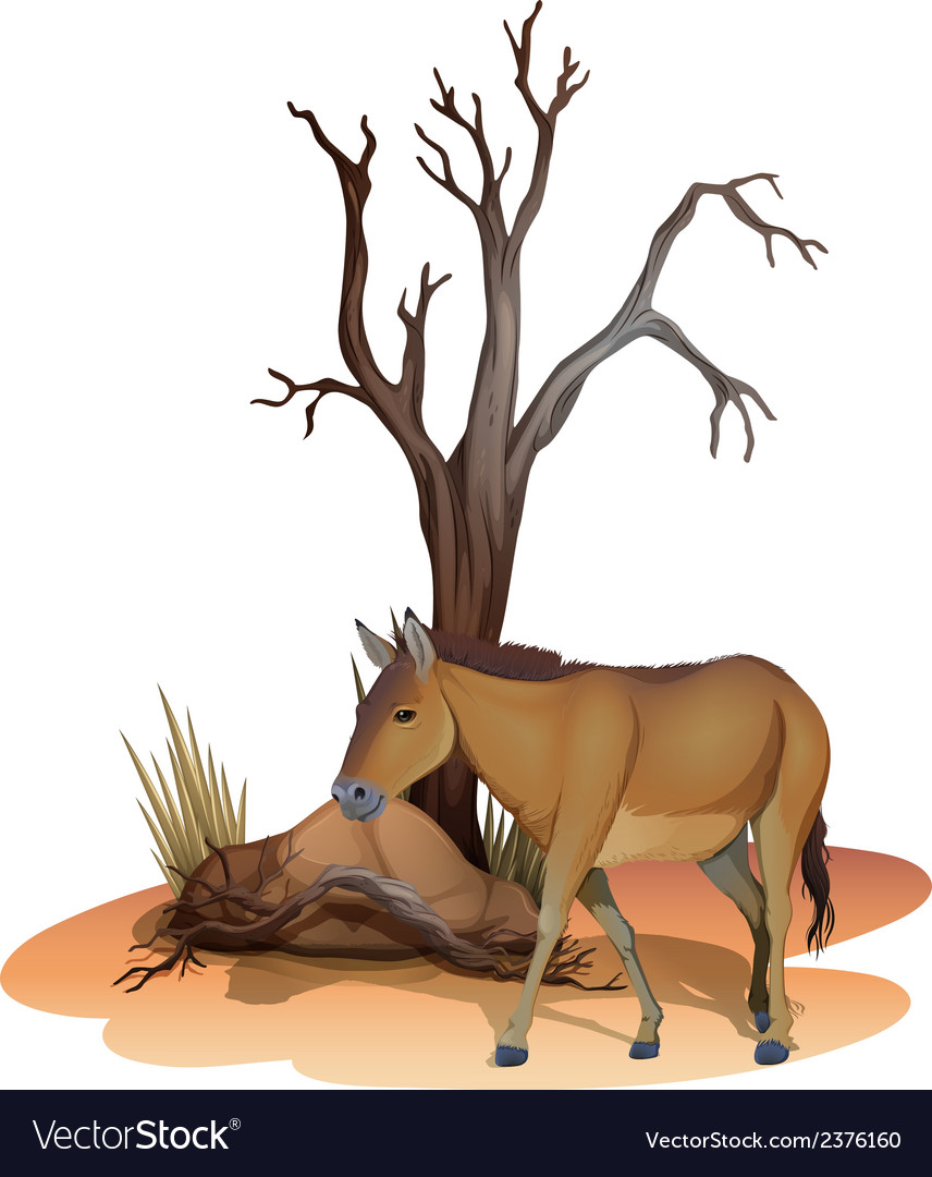 A horse beside the tree vector | Price: 1 Credit (USD $1)
