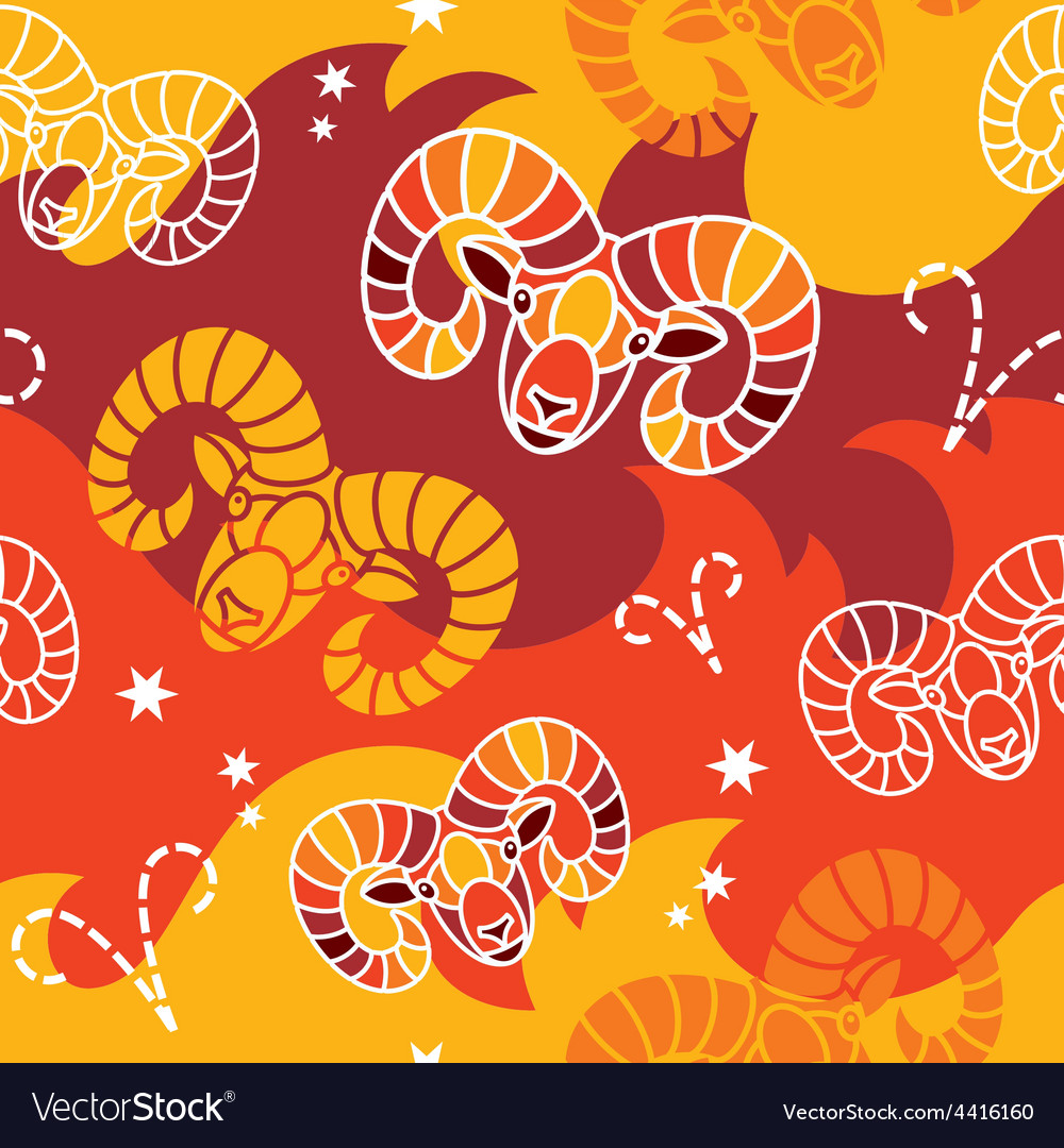 Aries - zodiac seamless pattern vector | Price: 1 Credit (USD $1)