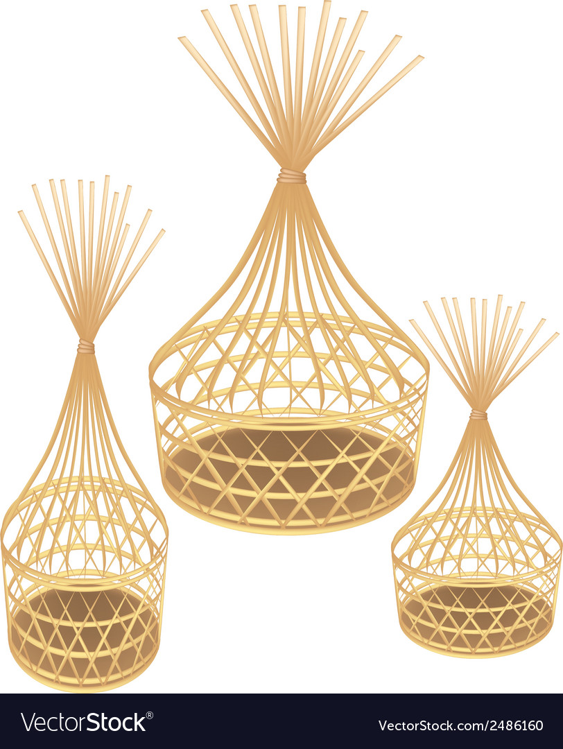 Brown bamboo wicker baskets on white background vector | Price: 1 Credit (USD $1)