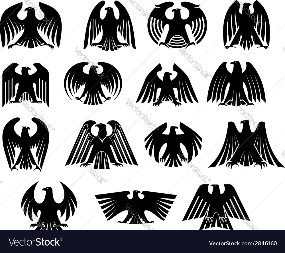 Eagle heraldry silhouettes set vector | Price: 1 Credit (USD $1)