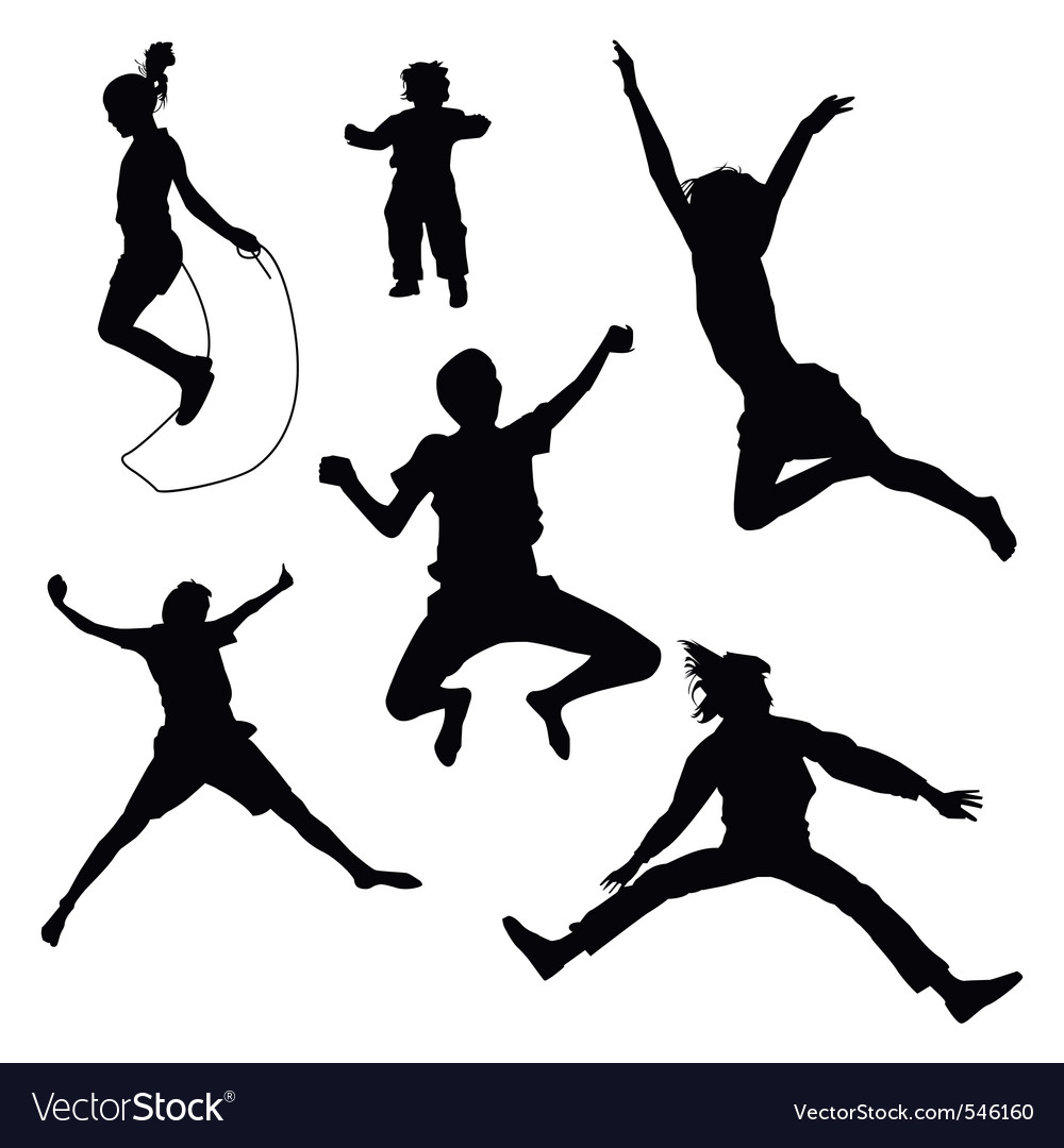 Isolated silhouettes of kids jumping vector | Price: 1 Credit (USD $1)