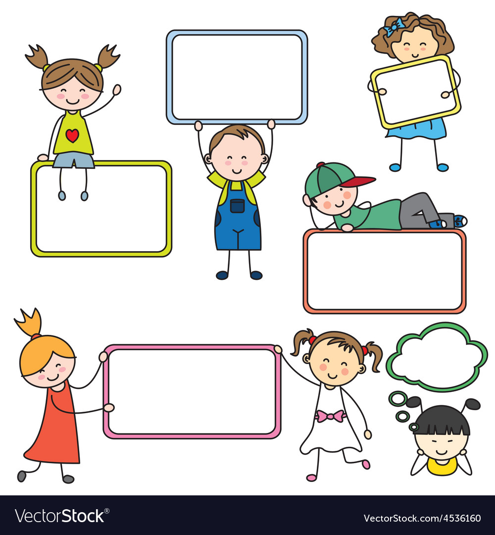 Kids with blank signs vector   Price: 1 Credit (USD $1)