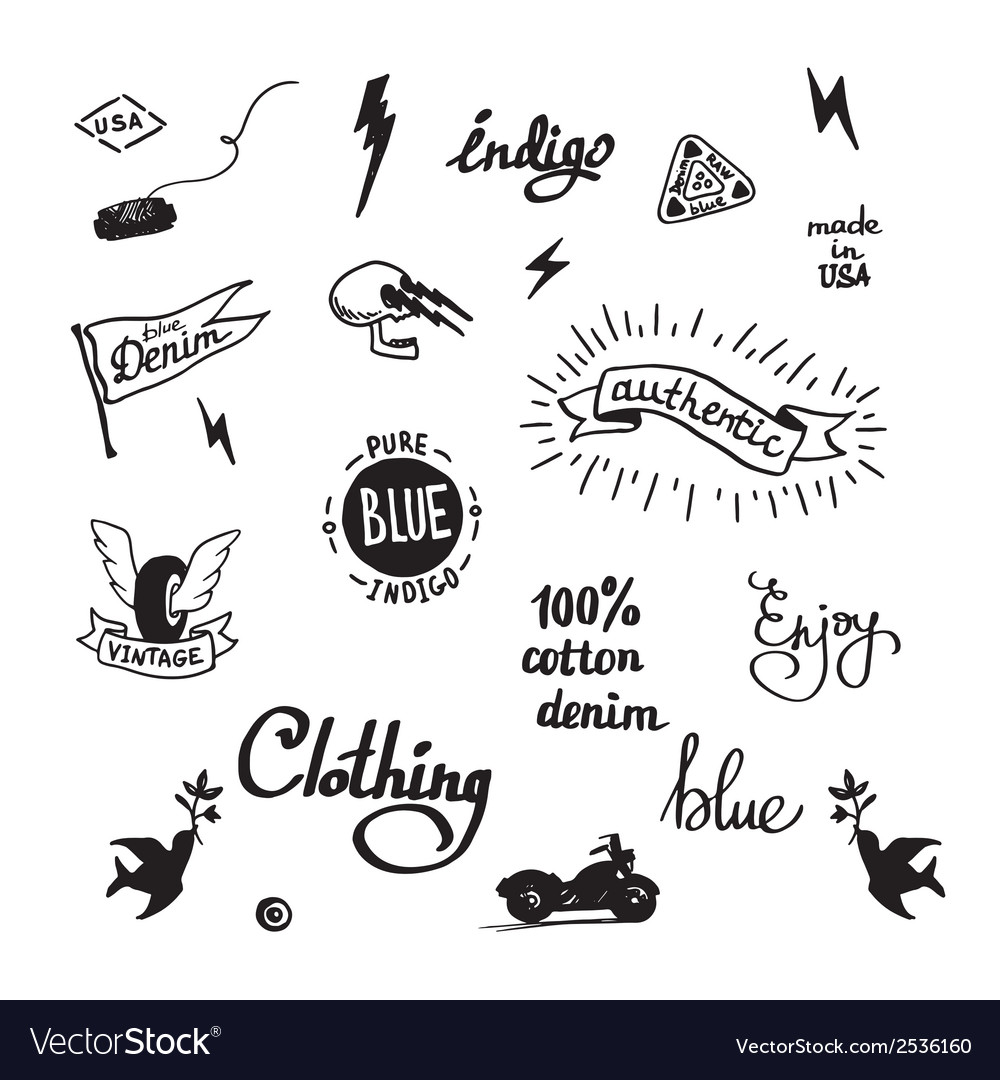 Old school denim biker symbols vector | Price: 1 Credit (USD $1)