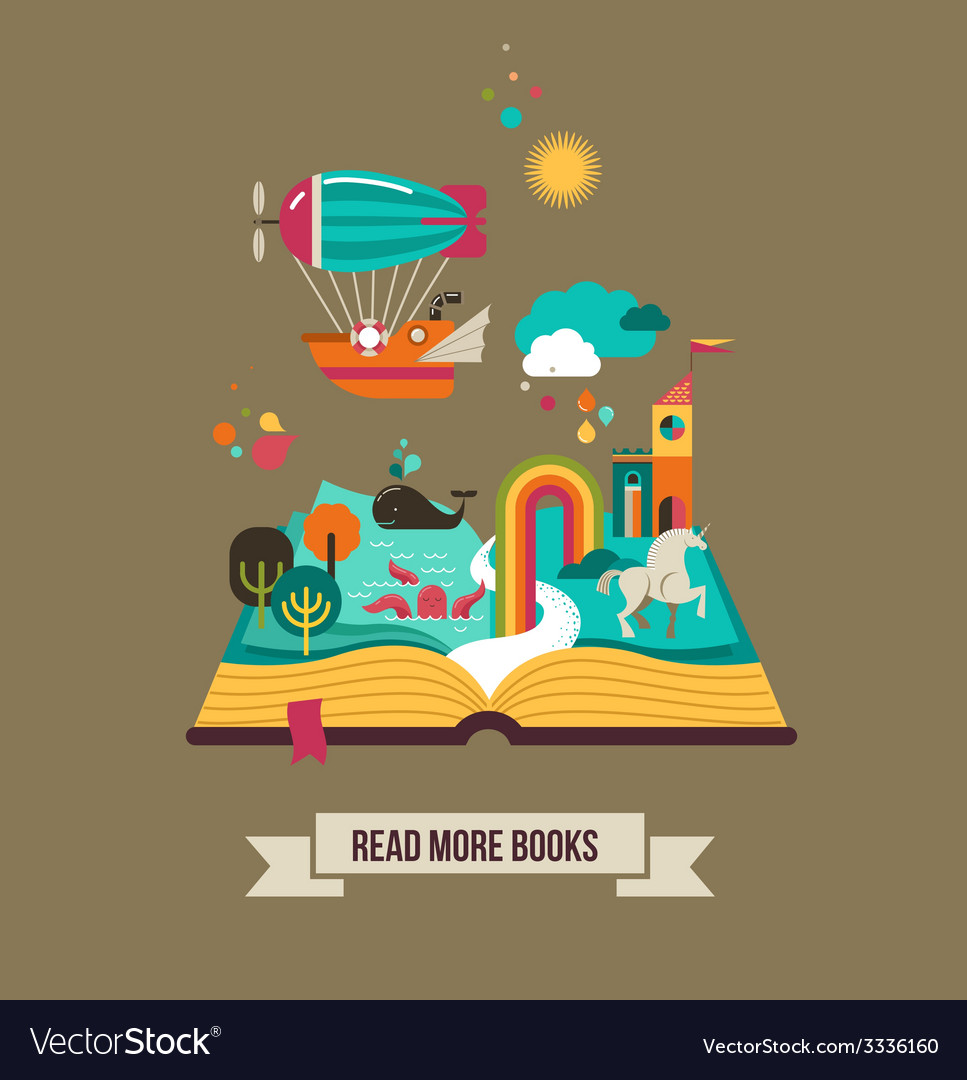 Open book with fairy tale elements and icons vector | Price: 1 Credit (USD $1)