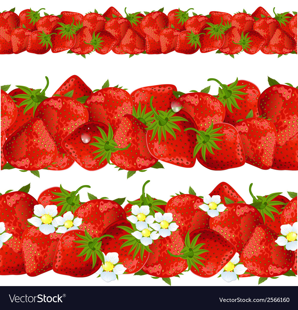 Seamless border of strawberry vector | Price: 1 Credit (USD $1)
